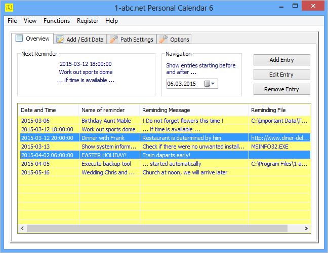 AbcNet Personal Calendar  Let Your Computer Remind You On